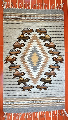 Sea turtle rug made by Zapotec weaver in Teotitlan del Valle, Oaxaca, Mexico