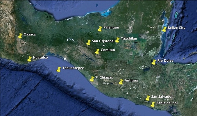 Map of key tourist destinations in southern Mexico (states of Chiapas and Oaxaca) and in northern Central America.