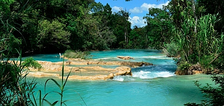 Serene aquamarine pools, Agua Azul waterfalls, Chiapas, Mexico