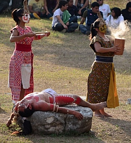 Mayan rituals for the deceased victim in a spring equinox celebration at Tenem Puente Mayan Ruins, Comitán, Chiapas, Mexico