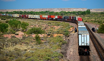 The Santa Fe Railroad disappears in the distance at Petrified Forest National Park, Arizona.
