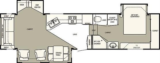 The floorplan of the Hitchhiker 34.5 II LS RLTG, our home in our fulltime RV lifestyle