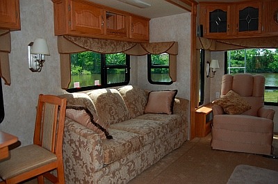RV living room in 36' Hitchhiker fifth wheel trailer
