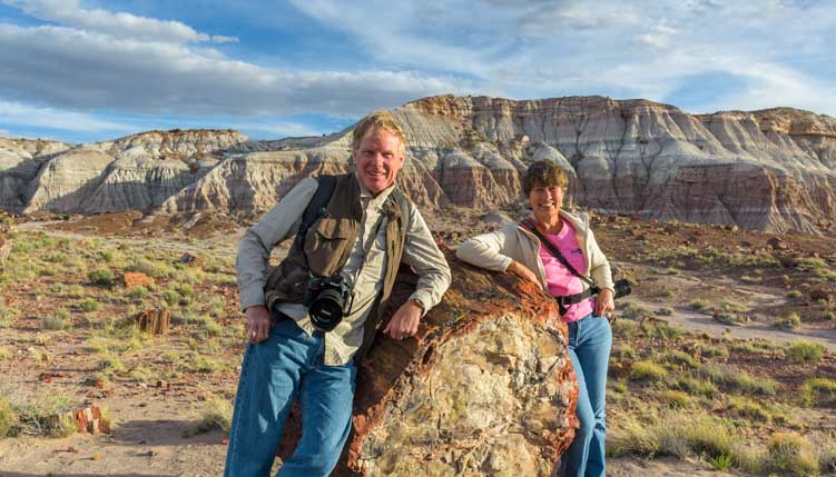 Happy RVers loving RV living and a nomadic lifestyle at Petrified Forest-min