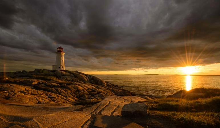 Peggy's Cove Lighthouse at Sunset Nova Scotia Canada copy-min