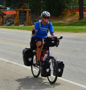 Cyclist in Darby, MT, rides from OK to CA