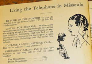 1930's era Missoula, MT, phone book