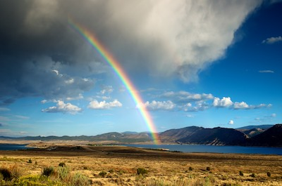 Rainbow at Flaming Gorge, Wyoming