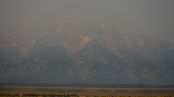 Grand Tetons Not Visible due to Wildfire Smoke