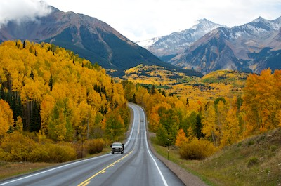 Telluride Colorado Dallas Divide Fall Colors snow on mountains