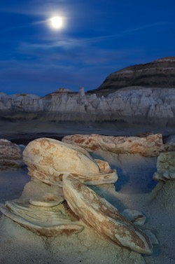 Bisti Badlands New Mexico egg factory light painting