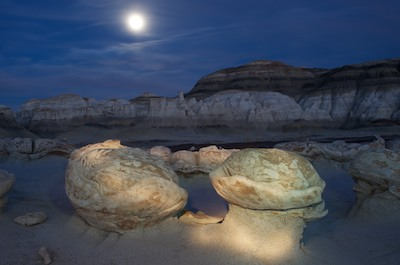 Bisti Badlands New Mexico Cracked Eggs light painting