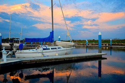 Sailboat at Marina Chiapas Puerto Chiapas (Puerto Madero) at sunset
