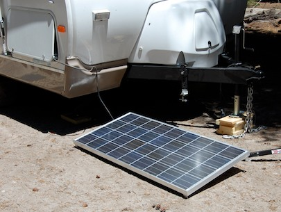 RV solar panel on the ground