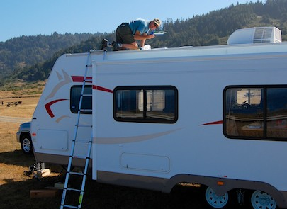 RV solar panel installation on a travel trailer