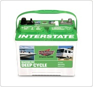 Group 24 deep cycle 12 volt battery for use in an RV solar power system