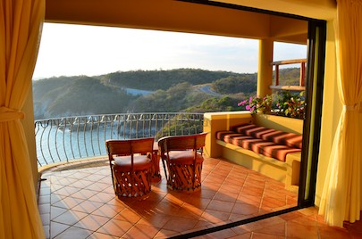 View from a room at Las Palmas Resort Huatulco Mexico (sail blog)