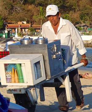 Ice cream vendor Santa Cruz Beach Huatulco
