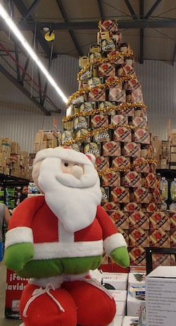 Santa Claus and Noche Buena Beer in Huatulco Mexico from our sail blog