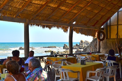 Beach bar at La Bocana Beach Huatulco we visited while sailing Mexico