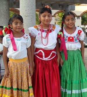 On our Mexico cruise: 3 girls pose for me in pretty skirts