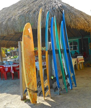 Surf boards at Playa La Bocana Huatulco Mexico sailing Mexico