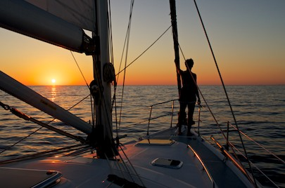 sunset at sea on groovy sailing blog