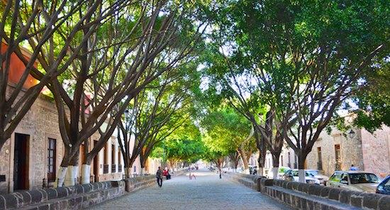 Morelia Mexico cobblestone street cruising blog