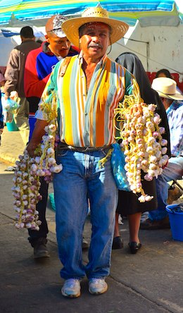 Patzcuaro Mexico market garlic seller sailing blog