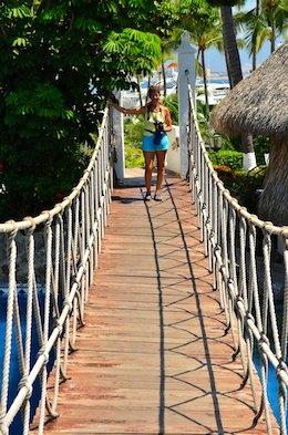 sail blog Las Hadas Resort rope bridge manzanillo mexico