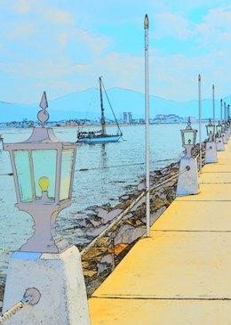 cruising blog Las Hadas docks color sketch