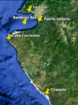 Map of Cabo Corrientes Chamela Banderas Bay Puerto Vallarta
