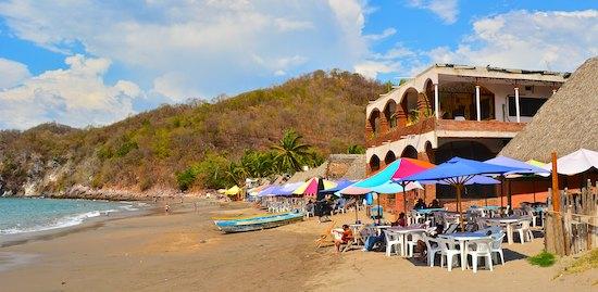 Playa Cuastecomate beach palapas costalgre mexico