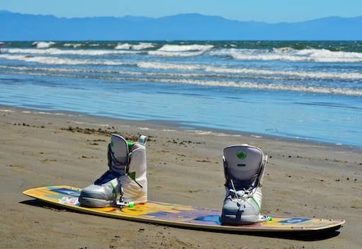 kiteboard with boots