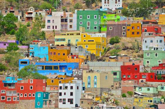 A colorful hillside in Guanajuato Mexico