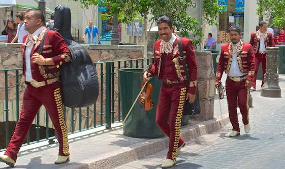 Mariachi band walking
