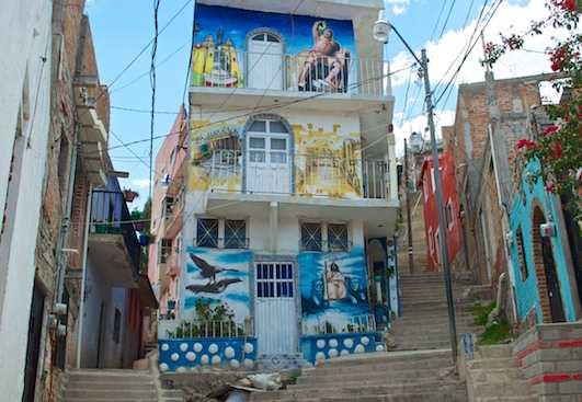 Stairways up Guanajuato hillsides