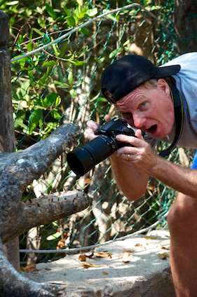Taking photos of a crocodile mouth