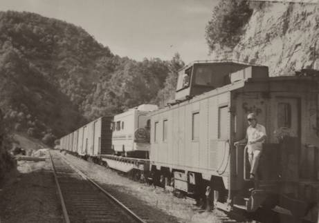 Motorhome on flat bed train in Copper Canyon