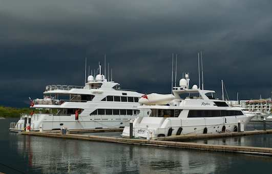 Puerto Vallarta yachts in dark clouds