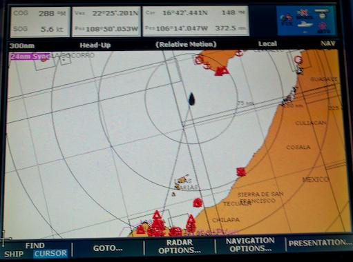 Chartplotter Puerto Vallarta to Cabo San Lucas Mexico