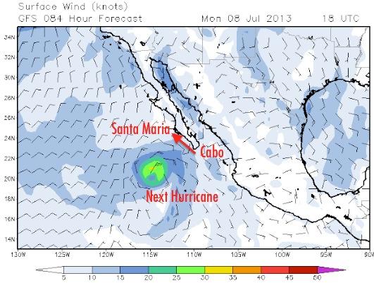 Hurricane Erick off Cabo San Lucas Mexico