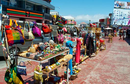 Vendor carts in Ensenada