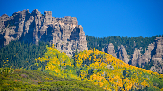 Craggy mountains and aspens in Colorado