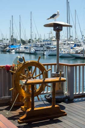 Wooden ship's wheel San Diego Yacht Club