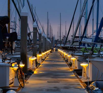 Lighted docks at Kona Kai Marina