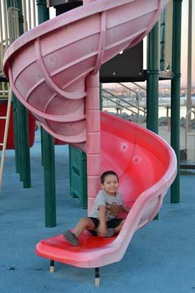 Jungle gym slide on Shelter Island