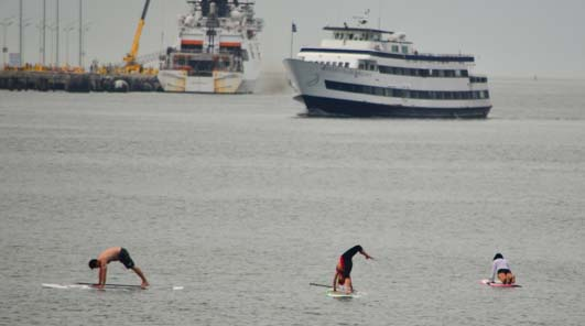 Yoga on standup paddle boards