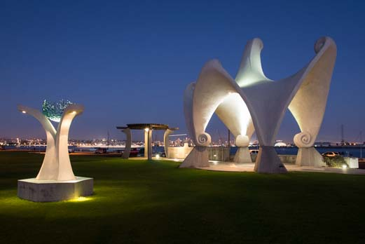 Sculptures on Shelter Island at dusk