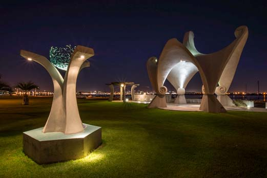 Sculptures on Shelter Island at night
